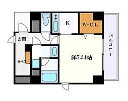 K Smart Kanayama 8階ワンルームの間取り