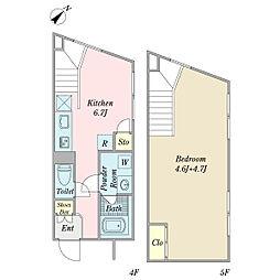 リーガランド不動前B棟 4階1DKの間取り