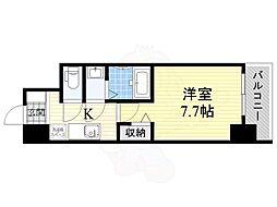 Osaka Metro四つ橋線 岸里駅 徒歩8分の賃貸マンション 9階1Kの間取り