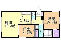 ハウス中の島シュライン 4階2LDKの間取り