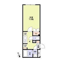 東京メトロ東西線 早稲田駅 徒歩8分の賃貸マンション 2階1Kの間取り