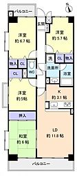 ライオンズマンション勝田台[8階]の間取り