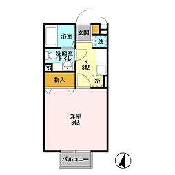 埼玉県富士見市ふじみ野東3丁目の賃貸アパートの間取り