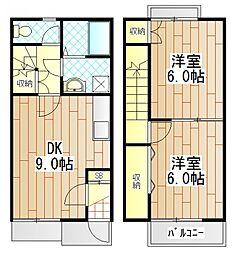 [テラスハウス] 神奈川県厚木市温水西1丁目 の賃貸【神奈川県 / 厚木市】の間取り