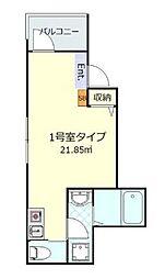 京成本線 堀切菖蒲園駅 徒歩5分の賃貸アパート 1階ワンルームの間取り