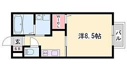 神鉄粟生線 小野駅 徒歩12分の賃貸アパート 2階1Kの間取り