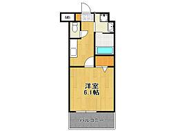 福岡市地下鉄空港線 赤坂駅 徒歩8分の賃貸マンション 14階1Kの間取り