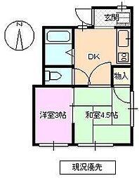 長野県長野市西三才の賃貸アパートの間取り