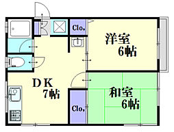 広島県広島市中区西川口町の賃貸マンションの間取り