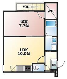 フジパレス井高野5番館 3階1LDKの間取り