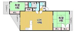 サンランドマンション 2階2LDKの間取り
