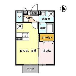 JAM C棟 1階1LDKの間取り