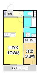 埼玉県和光市白子2丁目の賃貸アパートの間取り
