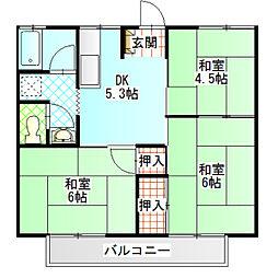 コーポ富士道[202号室]の間取り