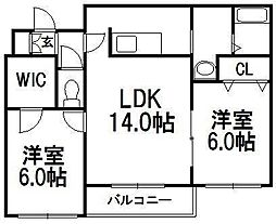 北海道札幌市手稲区手稲本町二条5丁目の賃貸マンションの間取り