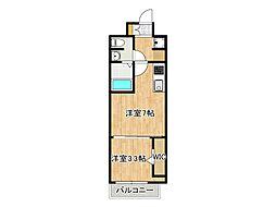 JPレジデンス大阪城東4 3階1DKの間取り