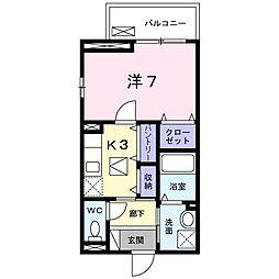 JR阪和線 熊取駅 徒歩3分の賃貸アパート 1階1Kの間取り