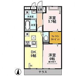 (仮)D-room曙町[102号室号室]の間取り