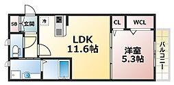 Hale Kanani 2階1LDKの間取り