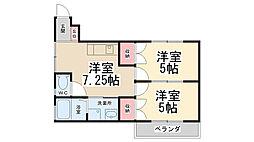 ローズハイツ尾崎[202号室]の間取り