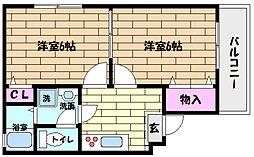 JR東海道・山陽本線 六甲道駅 徒歩12分の賃貸マンション 3階2Kの間取り