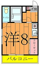 奥富マンション2[201号室]の間取り