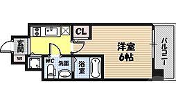 エスリード京橋桜ノ宮公園 6階1Kの間取り