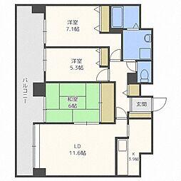 北海道札幌市中央区南四条東4丁目の賃貸マンションの間取り