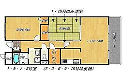 大阪府四條畷市米崎町の賃貸マンションの間取り