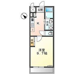 JR東海道・山陽本線 能登川駅 徒歩8分の賃貸アパート 2階1Kの間取り