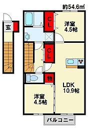 コスモ木屋瀬 B棟[2階]の間取り