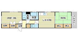 兵庫県姫路市五軒邸4丁目の賃貸マンションの間取り
