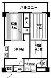 グランドール天王寺[6階]の間取り