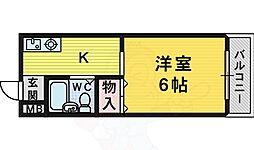 南海高野線 北野田駅 徒歩3分の賃貸マンション 2階1Kの間取り