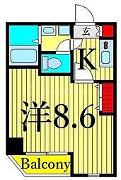 つくばエクスプレス 浅草駅 徒歩10分の賃貸マンション 6階1Kの間取り