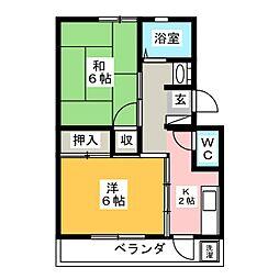 トレディオス飯塚[1階]の間取り