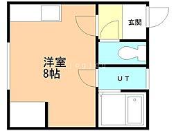 宮の下ハイツNo.2 2階ワンルームの間取り
