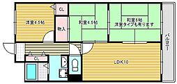 大阪府大阪市東淀川区井高野4丁目の賃貸マンションの間取り