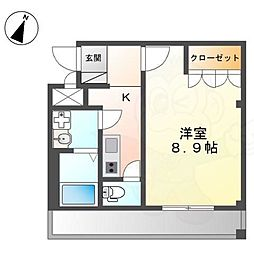 阪急今津線 宝塚駅 徒歩7分の賃貸アパート 2階1Kの間取り