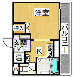 トゥ・レ・ジュー[3階]の間取り