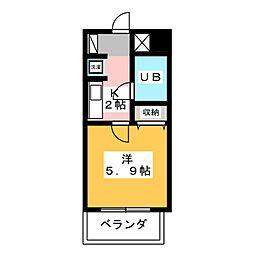 愛知県名古屋市西区那古野1の賃貸マンションの間取り