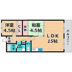JR片町線(学研都市線) 徳庵駅 徒歩2分の賃貸マンション 2階2LDKの間取り