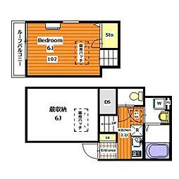 日暮里舎人ライナー 熊野前駅 徒歩1分の賃貸アパート 1階1Kの間取り