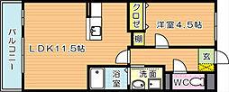 プレステージ熊西[4階]の間取り
