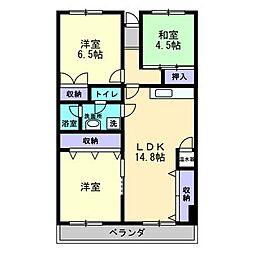 木太17マンション[203号室]の間取り