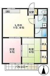 東京都調布市染地3丁目の賃貸アパートの間取り