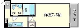 大阪府大阪市中央区島之内2丁目の賃貸マンションの間取り