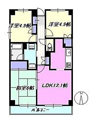 ヴァンティアン茅ヶ崎[4階]の間取り