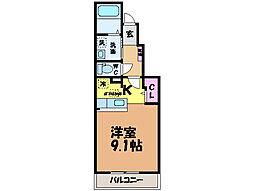 愛媛県松山市越智3丁目の賃貸アパートの間取り