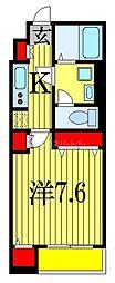 東京メトロ東西線 原木中山駅 徒歩12分の賃貸マンション 2階1Kの間取り
